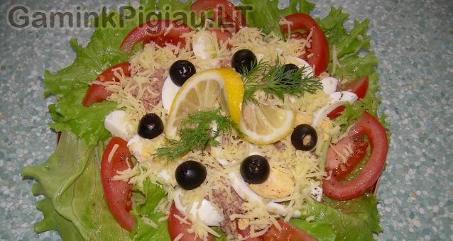 Salotos su tunu ir sūriu