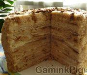 Medaus tortas, keptas keptuvėje
