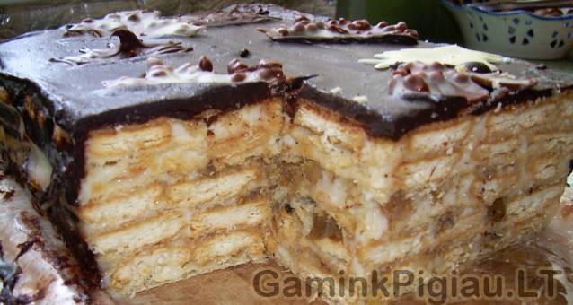 Vaflių – Krekerių Tortas
